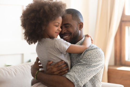 parent and child hug